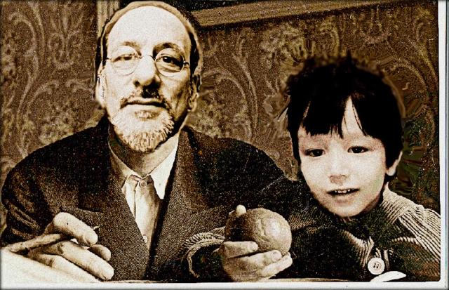 Brian and Rui - superimposed on a 1931 photograph of Bertolt and Stefan Brecht taken by Sergei Tretiiakov
